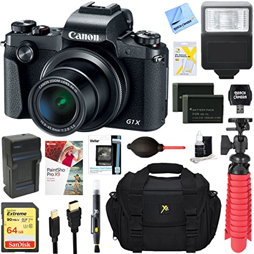 Canon PowerShot G1 X Mark III 24.2MP 3x Zoom Lens Digital Camera (Black) + Dual Battery Accessory Bundle by Canon