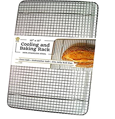 """Ultra Cuisine Stainless Steel Cooling Rack for Baking fits Jelly Roll Pan - Heavy Duty Wire Grid - Oven Safe for Roasting, Cooking, Grilling (10""""x14.75"""")"""