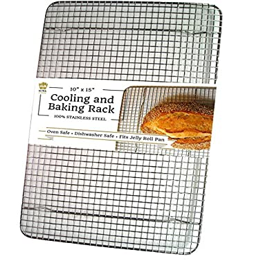 100% Stainless Steel Cooling Rack for Baking fits Jelly Roll Pan - 10 x15  Heavy Duty Wire Grid - Oven Safe for Roasting Cooking Grilling by Ultra Cuisine