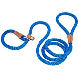 lynxking Dog Leash Rope Slip Leads Strong Heavy Duty No Pull Training Lead Leashes for Medium Large Dogs (5', Blue)