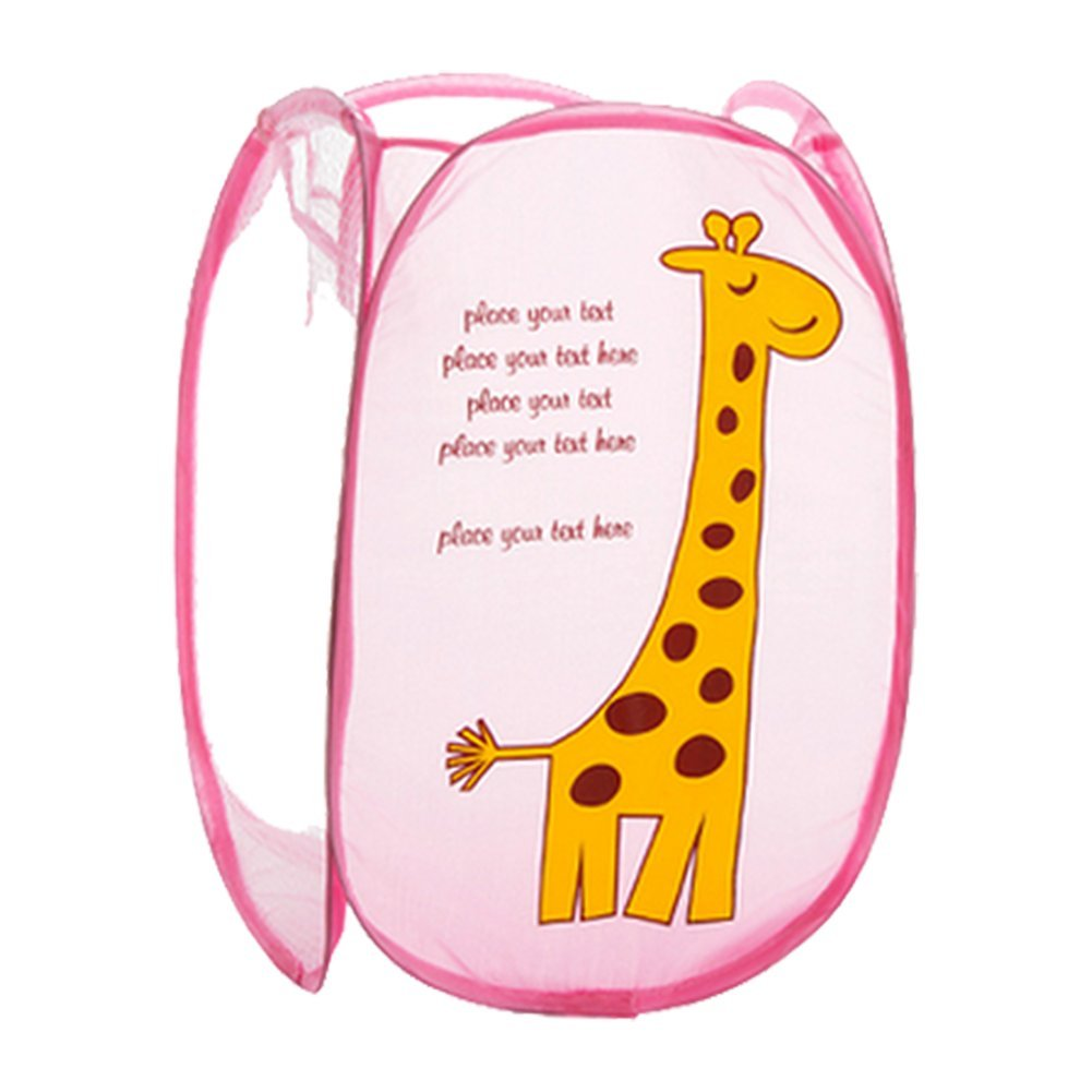 Hangnuo Cute Folding Nylon Clothes Laundry Basket Toys Storage Basket Pop-up Home Organizer Bins Pink Giraffe