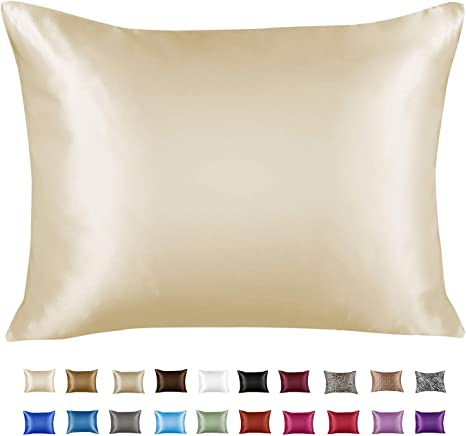 4 PCS Soft Satin Pillowcase Better for Hair and Face Standard Pillow Covers