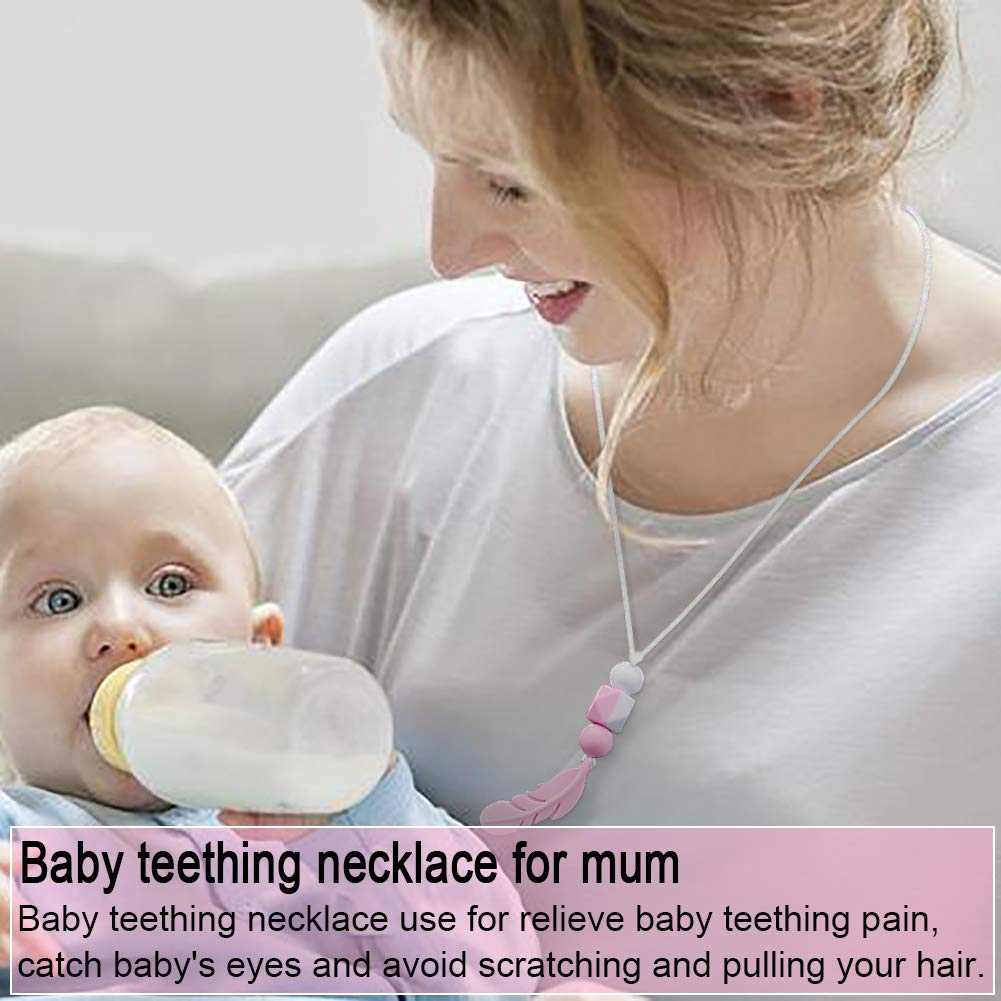 tuxepoc Baby Teething Mittens and Silicone Teething Necklace for mom, Self Soothing Pain Relief Mitt Stimulating,Stylish Chewable Necklace,Silicone Teether Toy,Unisex (Pink)