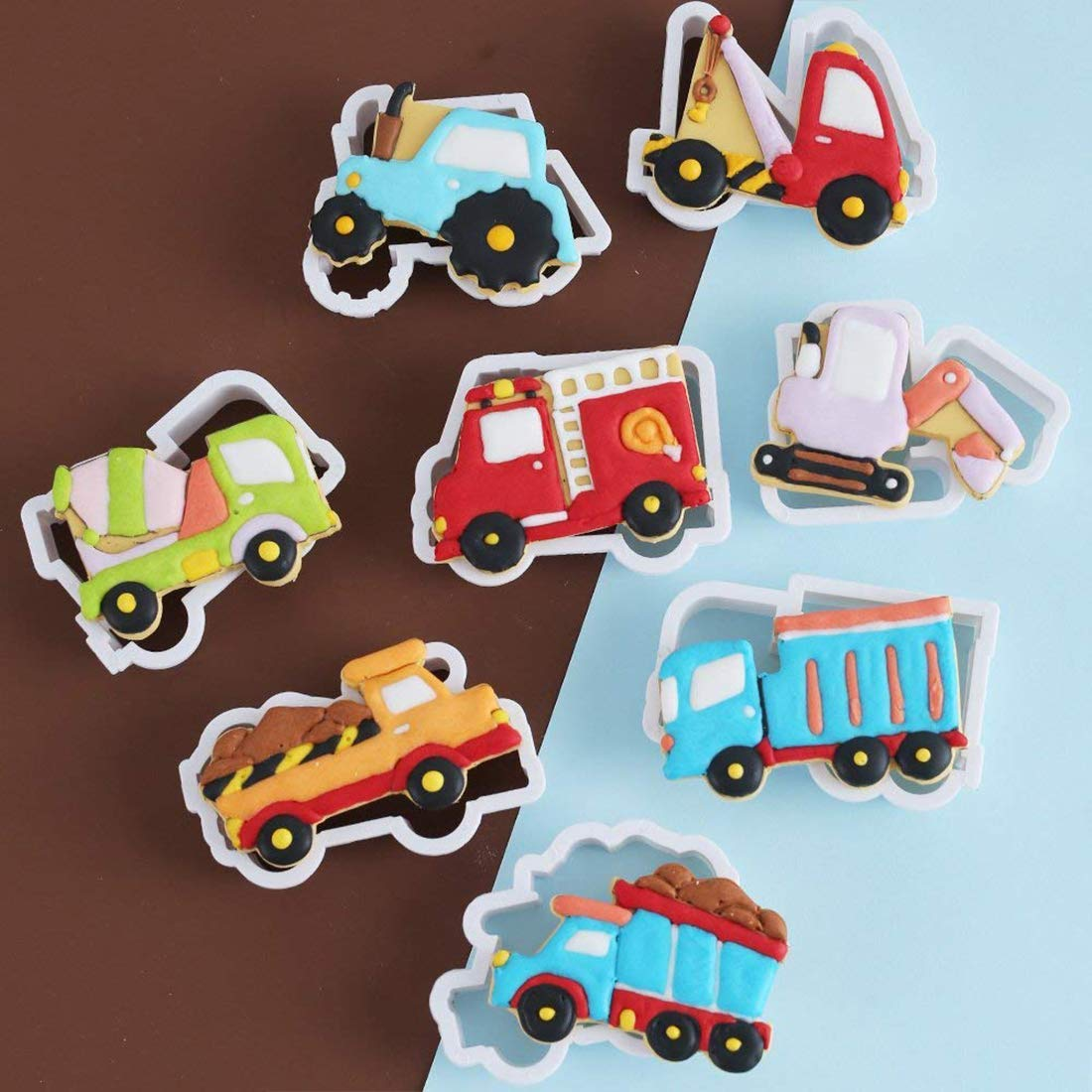 Molde para galletas de coche cortador de galletas moldes para tartas dulces galletas paquete de 8 galletas dise/ño de dibujos animados para reposter/ía DIY