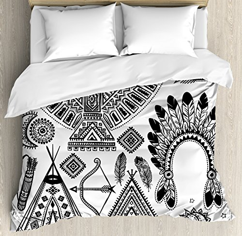 Tribal Decor Duvet Cover Set by Ambesonne, Native American Feather Head Band Indian Teepee Tent Bow and Arrow Print, 3 Piece Bedding Set with Pillow Shams, King Size, Black and White (Cheap Super King Size Bedding Sets)