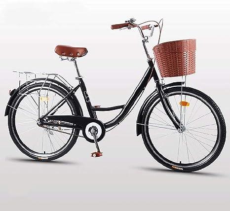 HELIn Bicicletas - Bicicleta de confort con canasta Ligera Mini bicicleta de viaje para hombre Mujer Bicicleta de ciudad Absorción de choque Unisex Bicicleta clásica de hierro Bicicleta Única Art Deco: Amazon.es: