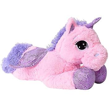 TE-Trend plüschpferd caballo unicornio unicorn peluche tumbado 45cm Púrpura glitzerhorn Grandes Ojos Rosa