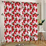 AmaParkhome Thermal Blackout Patio door Curtain Panel Red Delicious Big Strawberries on Background Tasty Juicy Ripe Fruits Red Sliding door curtains (2 Panels, 84″ x 84″) Review