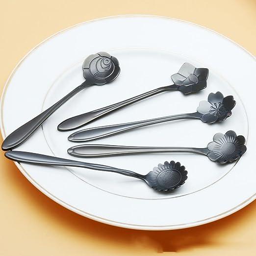 snnplapla vajilla flor forma azúcar cubiertos de plata cuchara de café té negro de té helado de acero inoxidable utensilios de cocina, Pansy: Amazon.es: ...