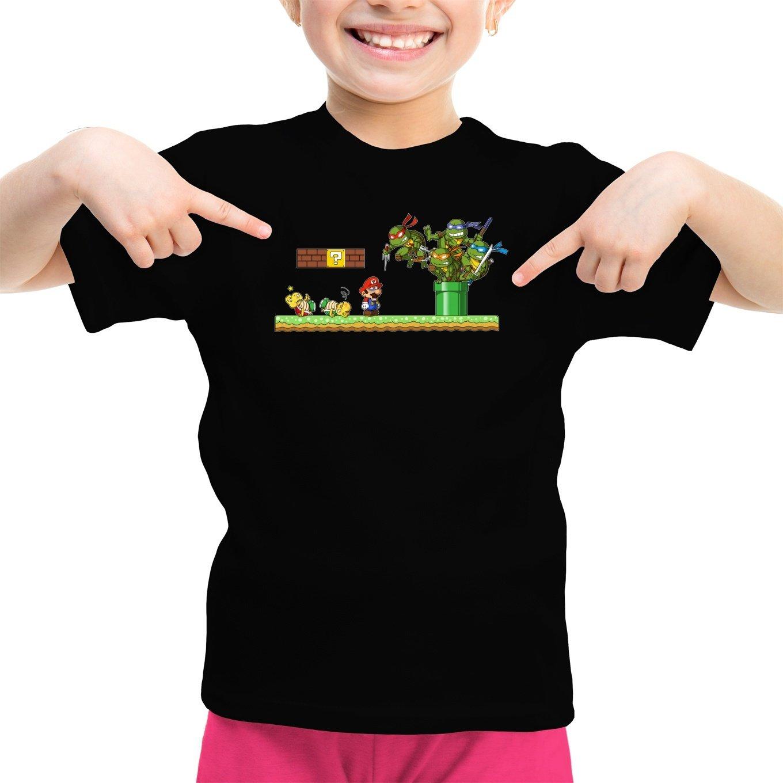 OKIWOKI Camiseta Niña Negra Las Tortugas Ninja - Super Mario ...