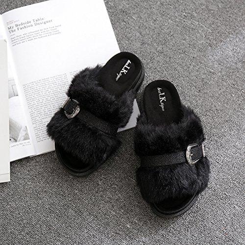 Fankou Autunno e Inverno pantofole home giovane anti-slittamento e camera da letto home cose carine da indossare uomini cotone pantofole estate femmina ,38, tacco alto verde (scarpe)