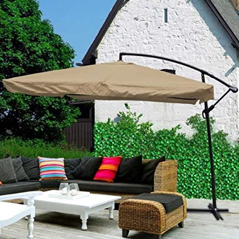 Deluxe 9ft 8-Ribs Sun Shade Pool Side Patio Offset Hanging Market Umbrella Outdoor Furniture - Tan
