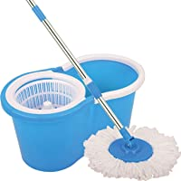 Pick & Ship Spin Bucket Mop with 2 Refills- Super Absorbent Refills for All Type of Floors, 360 Degree Spin Bucket, 180 Degree Bendable Handle, for Perfect Cleaning (Color May Vary)