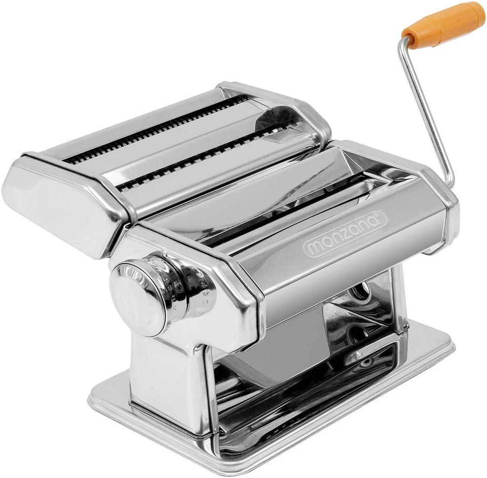 monzana® Nudelmaschine Edelstahl Pastamaschine Spaghetti Pastamaker 20cm x 20cm