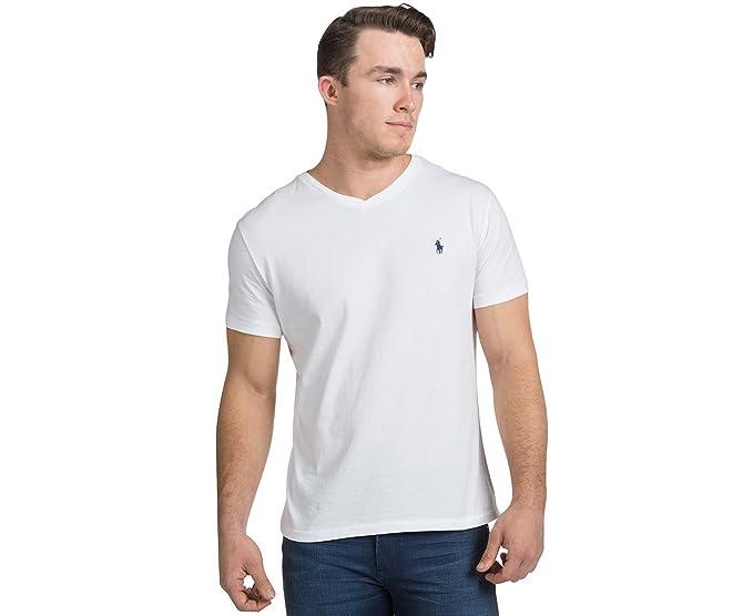 580122eca2 RALPH LAUREN Men's Pony Logo V-Neck Short Sleeve T-Shirt (M White) [Apparel]