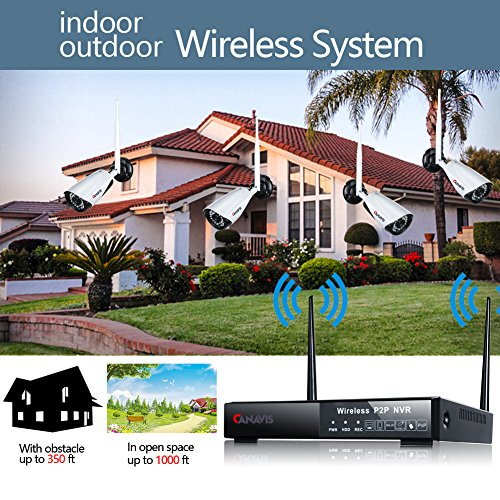 CANAVIS HD 1280×720 Res CCTV Wireless Wifi 1MP Security Network Camera System Android Compatible Weatherproof Outdoor 960P NVR Surveillance Recording Cam With 3.6mm Lens 65ft Night Vision, No HDD by CANAVIS (Image #6)