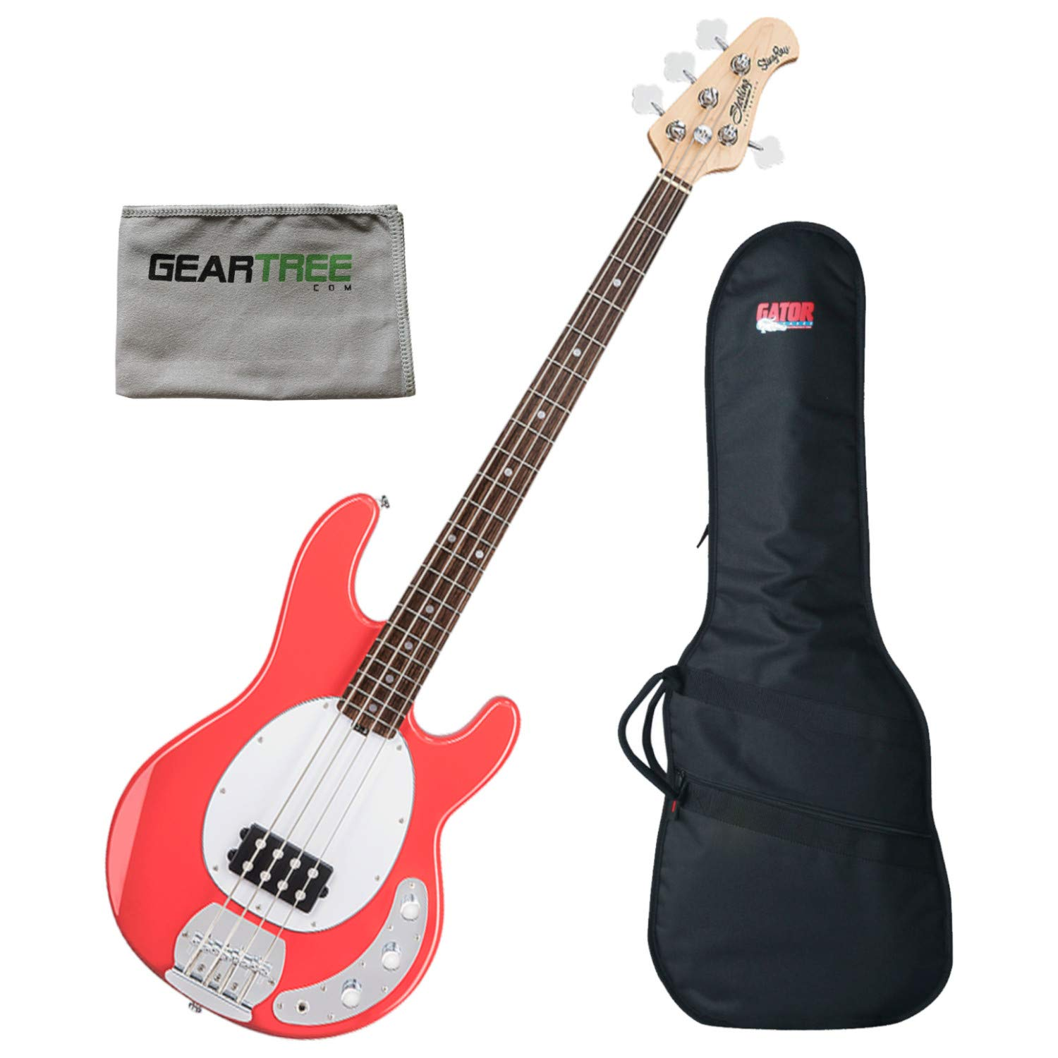 Sterling RAY4-FRD-R1 Ray4 Fiesta Red 4-String Bass Guitar w/Gig Bag and Polish