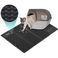 DADYPET Alfombrilla Gato, Mascotas Gatos Accesorios Juguetes para Gatos Alfombra Gatos Arenero Esterilla Gato Impermeable Fácil de Limpiar (Negro)