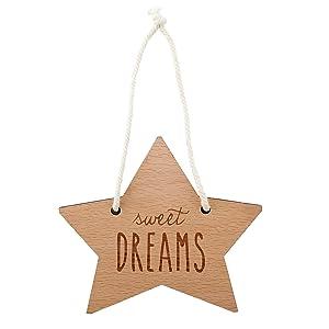 Stephan Baby Hanging Beechwood Nursery Sign, Star-Shaped Sweet Dreams