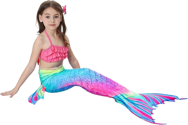 GALLDEALS Costume da Bagno Coda di Sirena Bikini per Nuotare con Monopinna in Piscina Cosplay per Bambina Ragazza