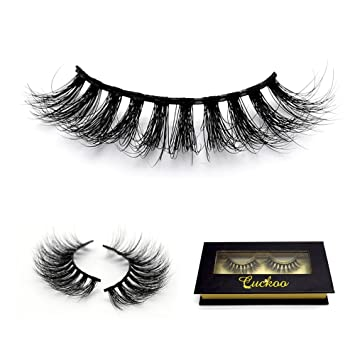 63b22c81d3f Amazon.com : Cuckoo Lashes 100% Hand-made Siberian 3D Mink Fur False  Eyelashes Luxurious Natural Wispy Winged Daily Fake Eye Lashes Makeup 1  Pair FL07H ...