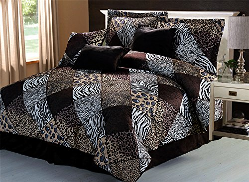 5 Piee TWIN Size Safari Comforter set - Zebra, Giraffe, Leopard, Tiger Etc - Multi Animal Print Bed in a Bag Brown Beige Black White Micro Fur Bedding