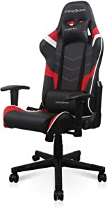 DXRacer P Series Gaming Chair, Premium PVC Leather Racing Style Office Computer Seat Recliner with Ergonomic Headrest and Lumbar Support, Black and Red