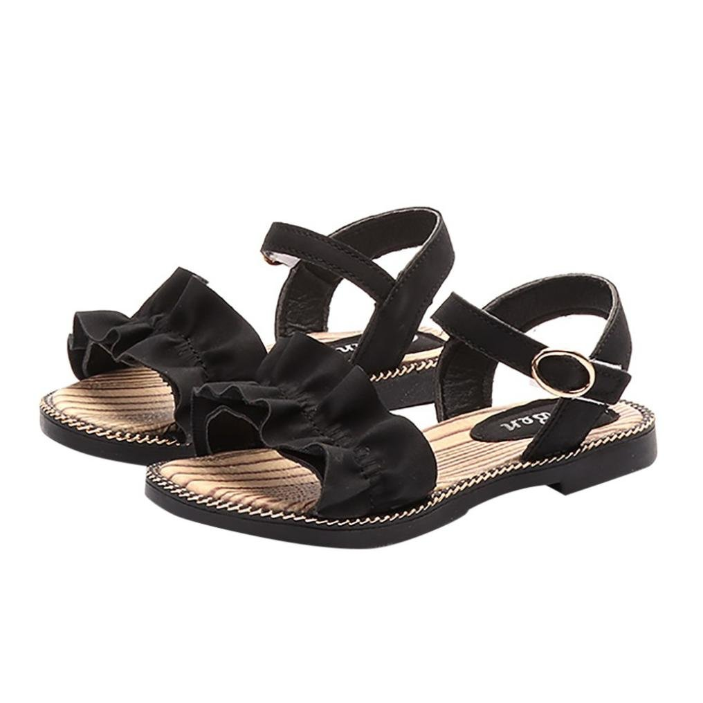 Hatoys Summer Children Infant Kids Girls Casual Wave Ruffles Princess Shoes Sandals