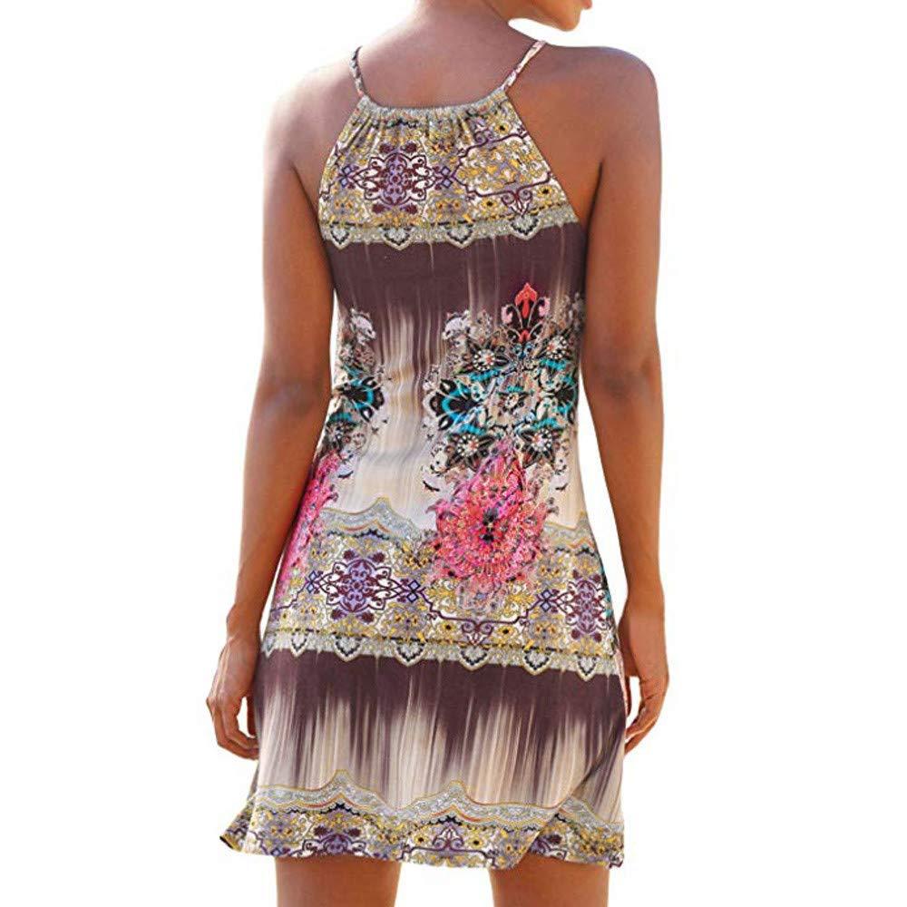 JiaMeng Abito con Gonna a Spalla Stampa Bohemien Donna Sling Vestito Spalle Scoperte Stampate Mano da Estivo Beachwear Mini Spiaggia Vestito di Moda