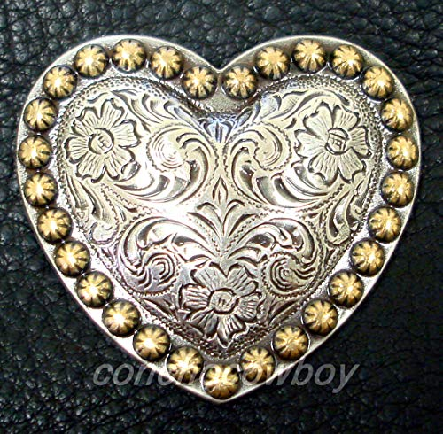 Conchos for Clothes Western Horse TACK Antique Gold Heart Berry Saddle Concho 1 inch Screw Back