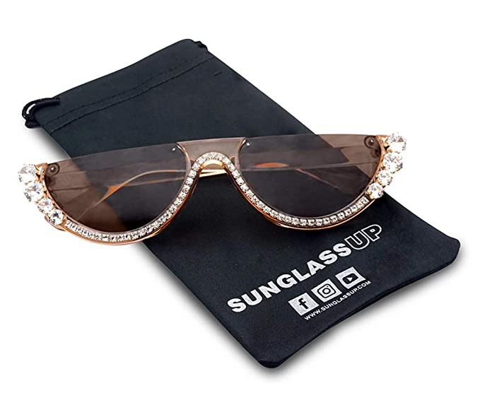 00a8ba51f4 Amazon.com  SunglassUP Half Moon Diamond Studded Rhinestone Flat Top Sun  Glasses Semi-Rimless Jeweled Clout Cat Eye Shades (Crystal Brown Frame