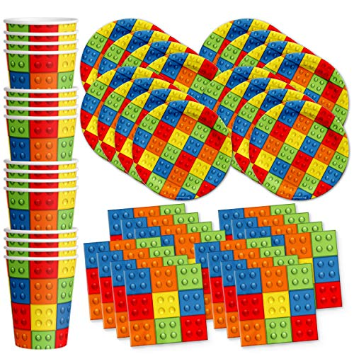 Building Blocks Birthday Party Supplies Set Plates Napkins Cups Tableware Kit for 16 by Birthday Galore
