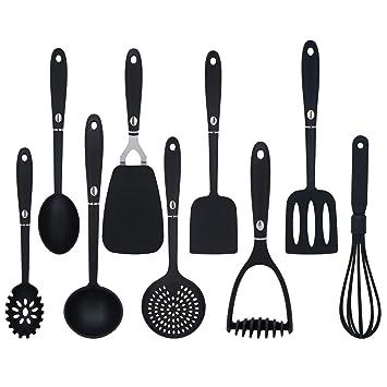 Ustensiles De Cuisine Set Ustensile De Cuisine Noir Resistant Sans