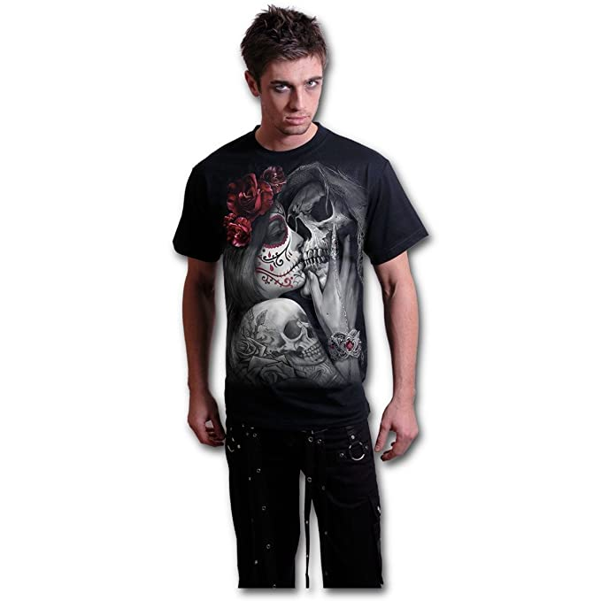 Spiral Direct Camiseta de Manga Corta Dead Kiss con Estampado Catrina y Santa Muerte - S: Amazon.es: Ropa y accesorios