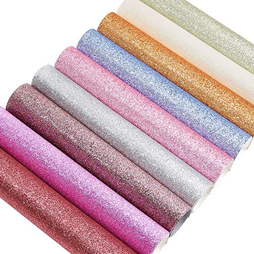 Caydo 9 Colors A4 Size Super Shiny Glitter Sequins Faux Leather Sheets Canvas Back for Craft DIY, Hair Bows Making, Earrings Making 12.6 x 8.7 Inch (32 x 22 cm) ()