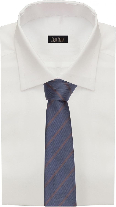 passt zu fast jedem Anzug Fabio Farini dunkelblaue 8 cm Krawatte mit braunen Streifen
