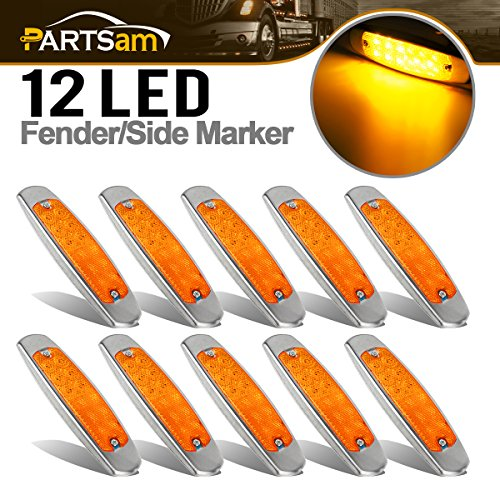 "Partsam 10x Amber Flat 6-1/5"" Peterbilt Style Clearance/Marker Light 12LED w Reflex Lens, Reflective Amber LED Peterbilt and Kenworth Truck Trailer Cab Marker Lights Surface Mount"