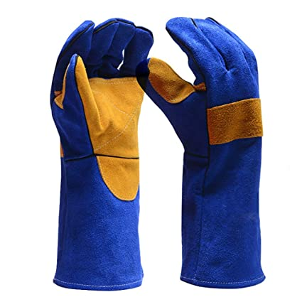 guantes de soldadura de cuero resistente al calor guantes de protección ignífugos mitones con manga larga