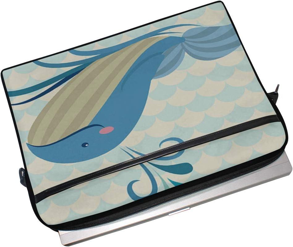 Briefcase Messenger Shoulder Bag for Men Women Laptop Bag Friendly Blue Whale 15-15.4 Inch Laptop Case College Students Business People Office Work