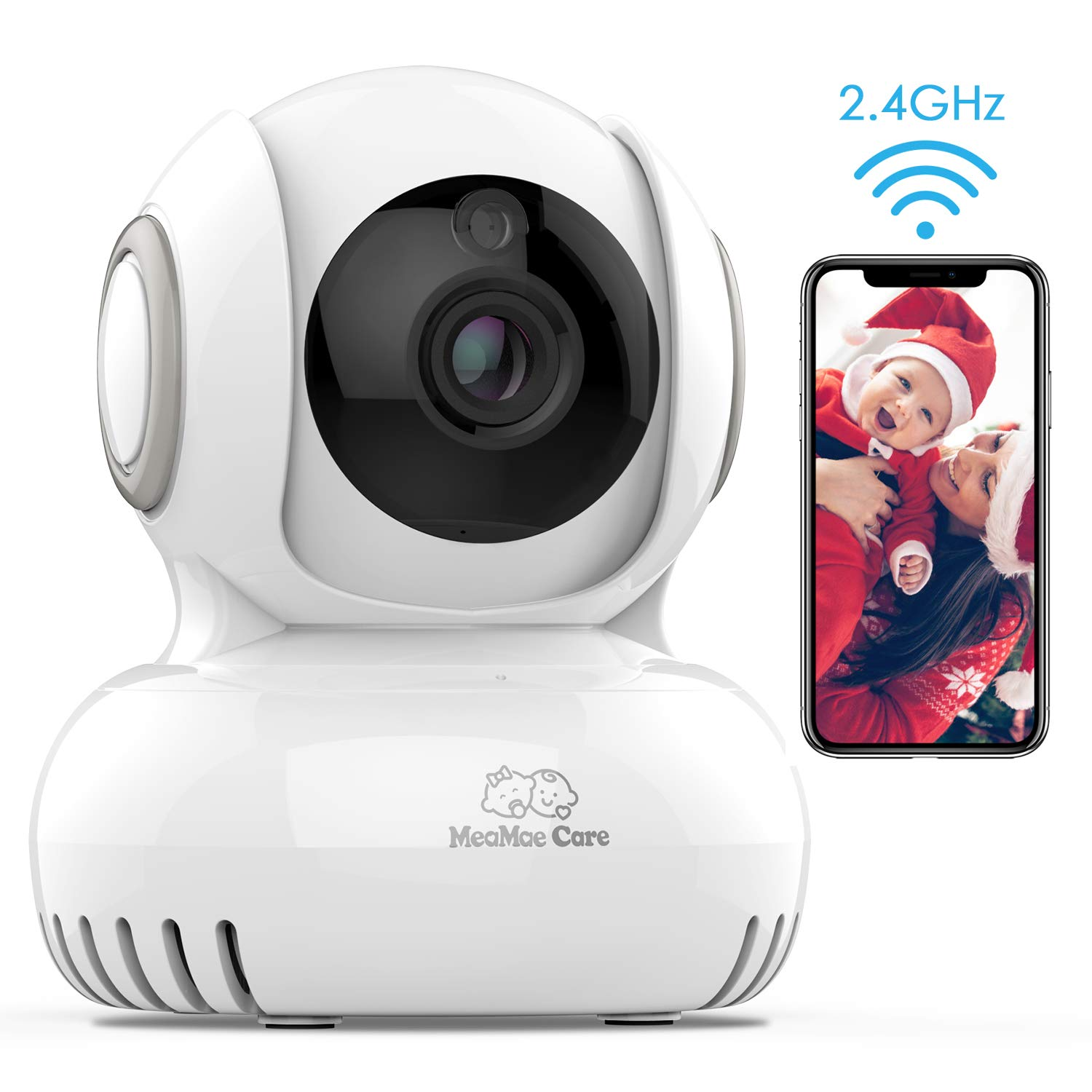 WiFi Baby Monitor with Camera and Audio - Lullabies, Home Security 2.4G WiFi Camera for Nanny/Elder/Pet with 2-Way Audio, Night Vision, Motion & Temperature Sensors, Pan/Title/Zoom, iOS/Android