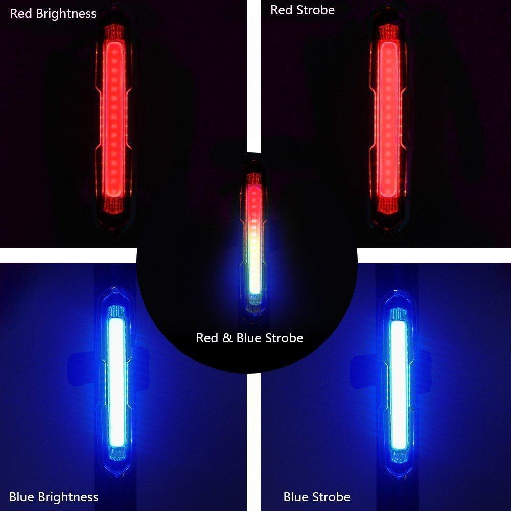 Casco Faro Trasero Impermeable y Super Brillante Rojo Azul Luz LED para Ciclismo Modo de Cinco Luces Landnics Luces Bicicleta Recargable USB Luz Trasera para Bicicleta