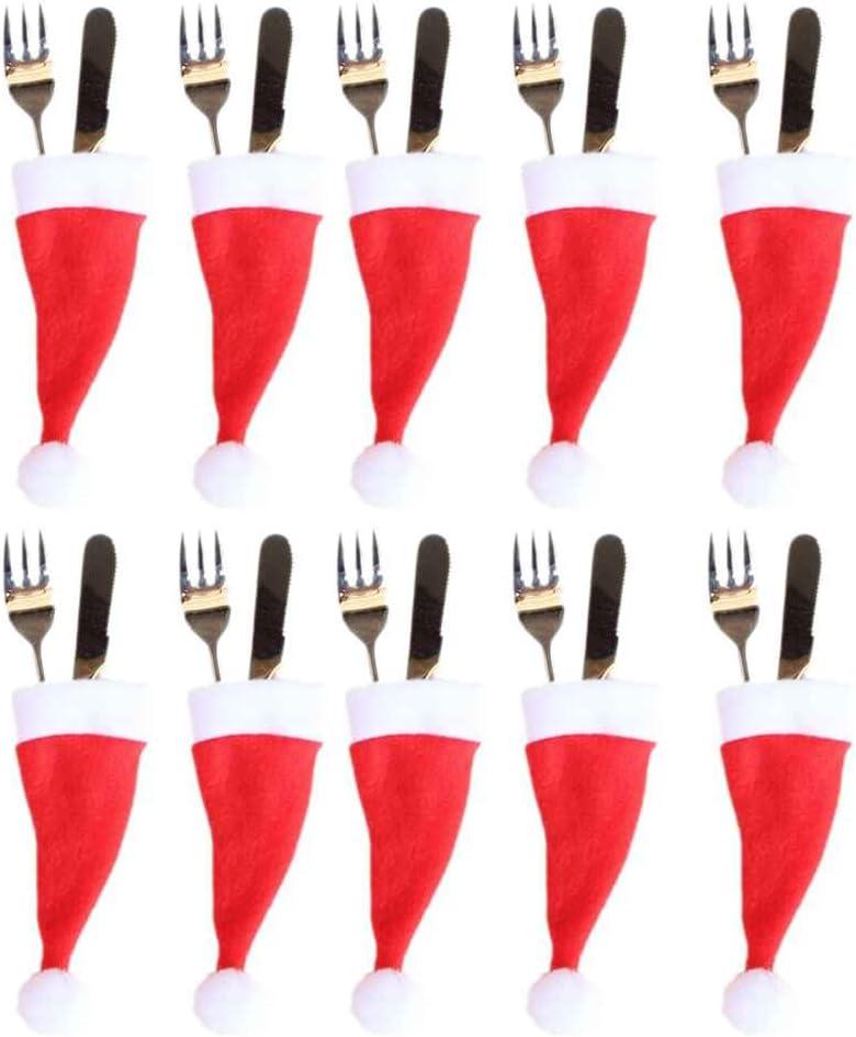rongweiwang Caso di Natale Hat cap da tavola Posate Argenteria Natale Holder Cappello Tasche Cucchiaio Cena Caso Decorazione della Scatola di Forcella