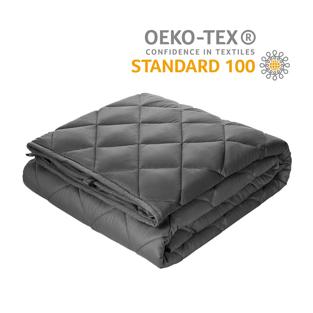 Viki Weighted Blanktet 15 lbs for Adults   48''x72''   Dark Grey   Enjoy Summer Weighted Blanket and Deep Sleep at Midnight