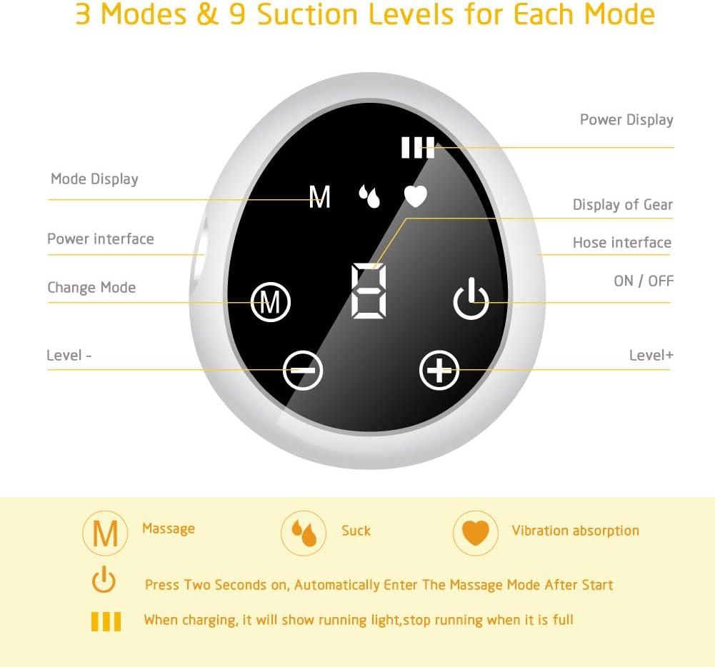 Sacaleches El/éctrico Recargable Port/átil Extractor de Leche el/éctrico con pantalla t/áctil LCD inteligente para Succi/ón de Leche Materna y Masaje de Senos