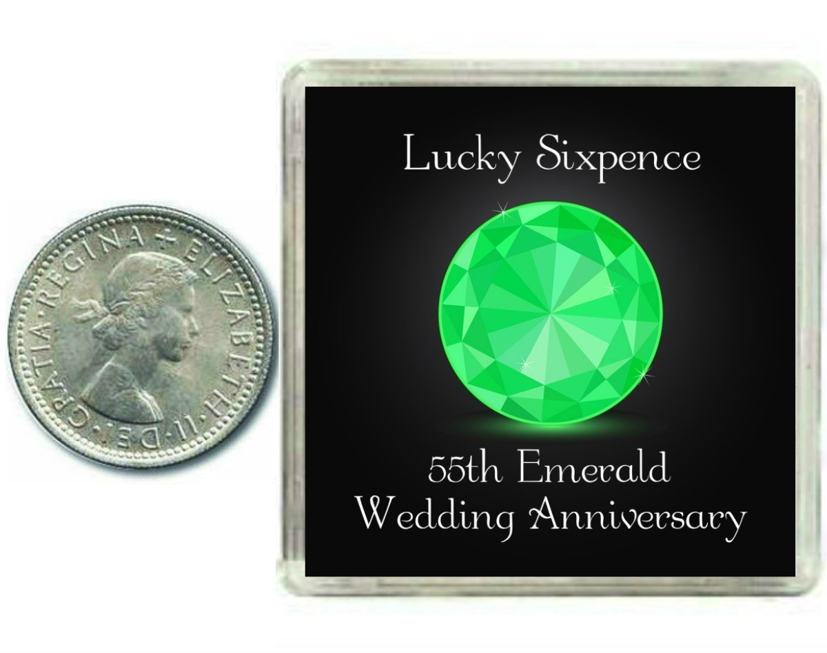 Lucky Sixpence Coin For An Emerald 55th Wedding Anniversary