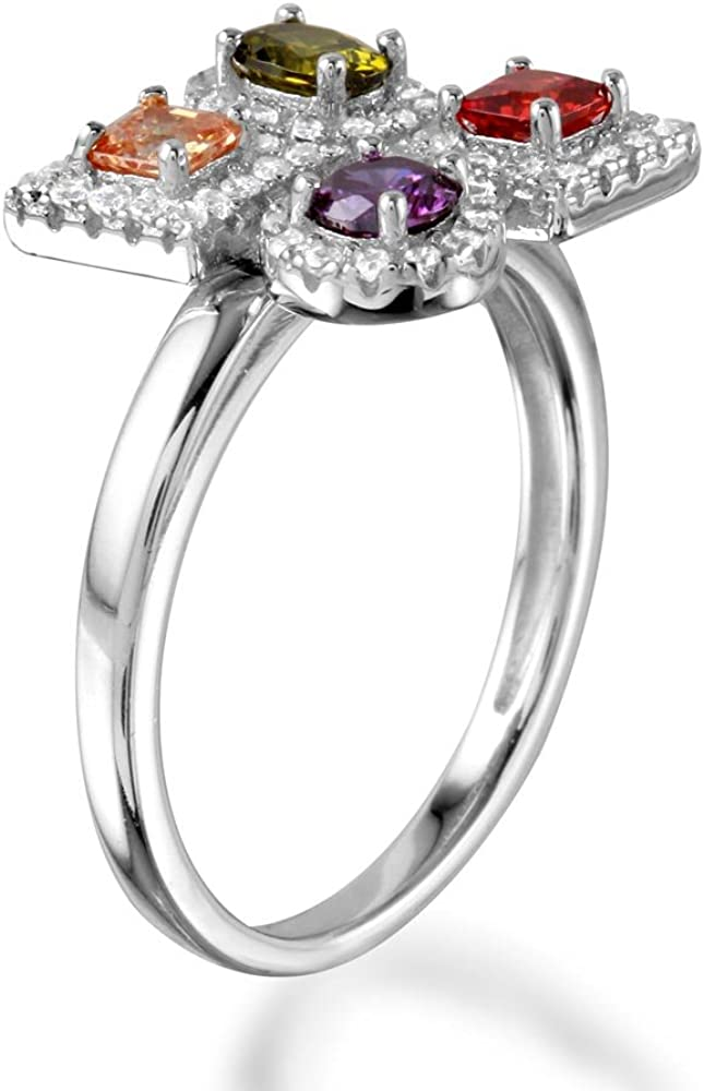 Multi Shape And Color Cubic Zirconia Quadruple Design Ring Rhodium Plated Sterling Silver