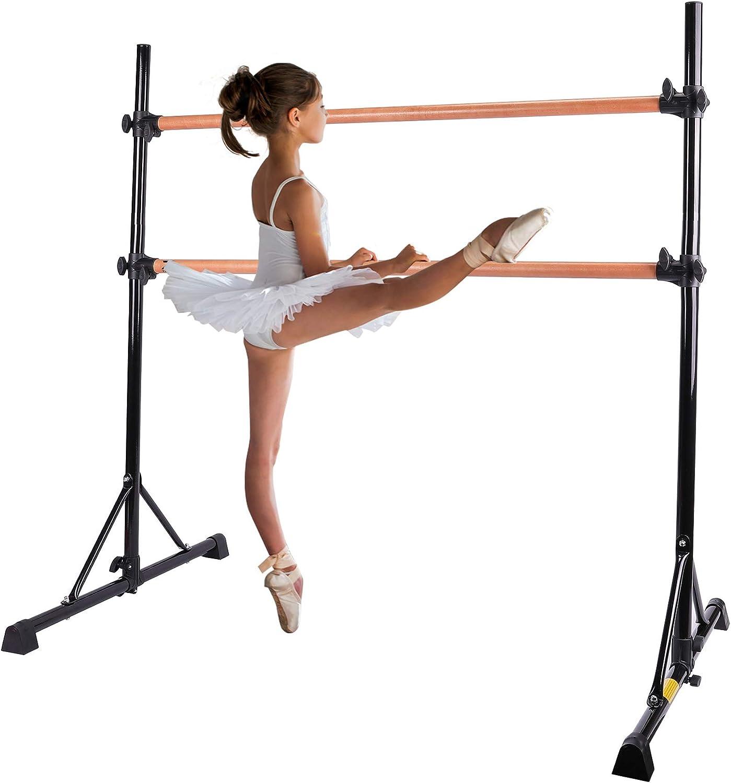 ZELUS Portable Ballet Barre Bar for Home Kids Ballet Bar 5ft Adjustable Freestanding Double Stretching Dance Bar, Barre Exercise Equipment for Women with Heavy-Duty Beechwood 330 lb Capacity
