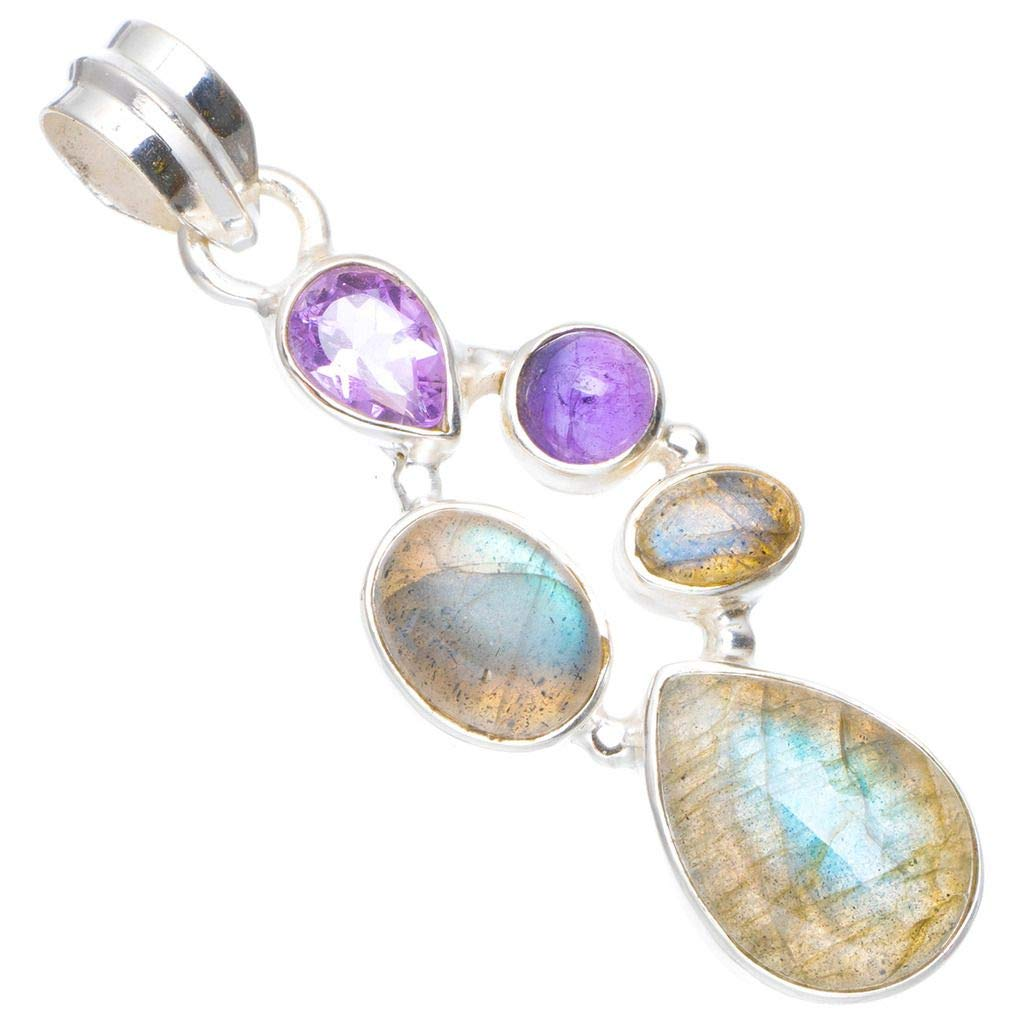Natural Blue Fire Labradorite and Amethyst Handmade Unique 925 Sterling Silver Pendant 1.75 A0526