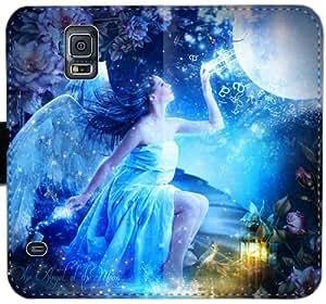 Dgyaut ángel de la luna Iwfffy Q5H0P Funda Samsung Galaxy S5 Cartera de cuero Funda Caso 1w0o5u caso del tirón del teléfono fundas de protección