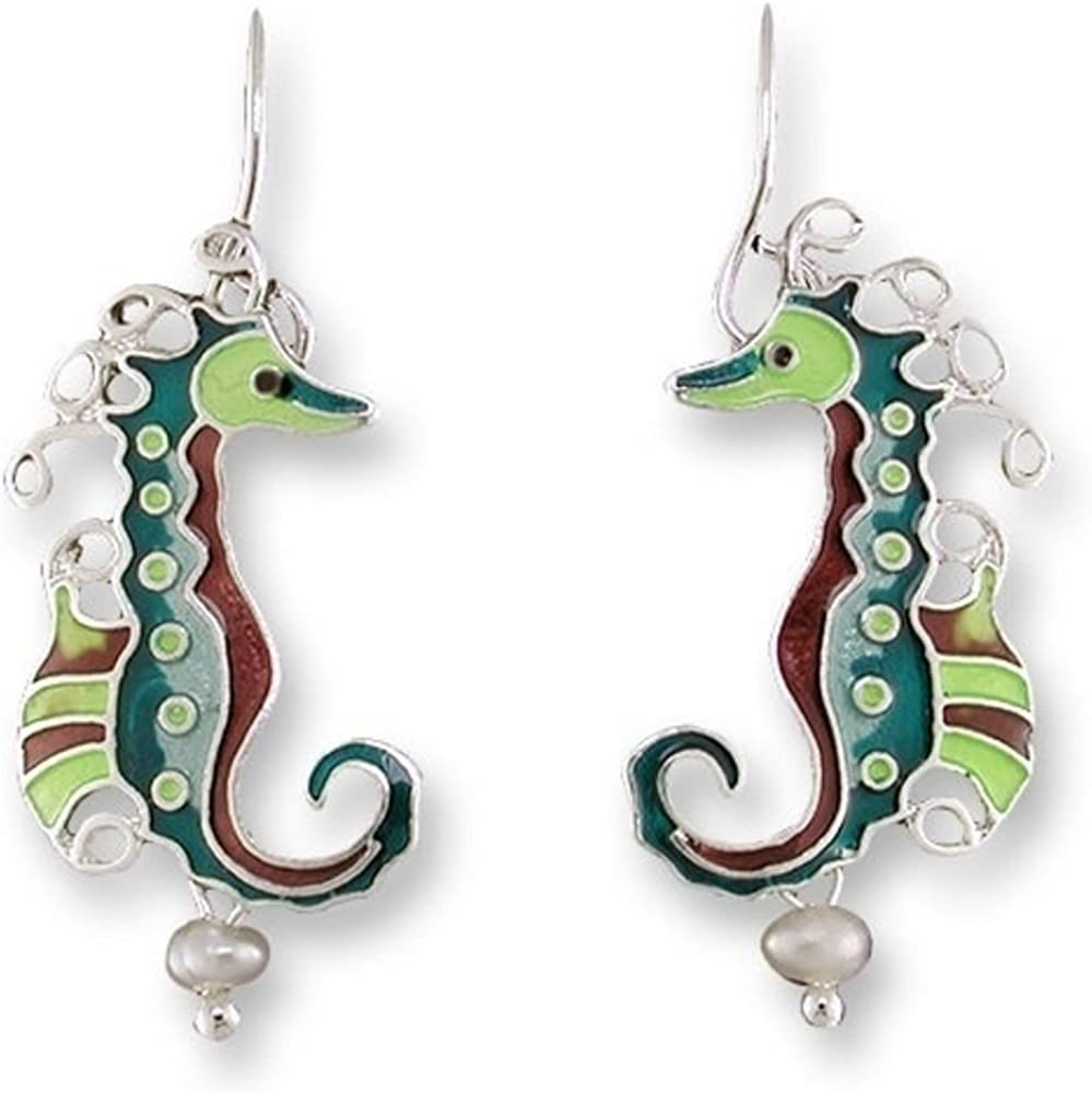 Seahorse Enameled Pearly Wire Earrings